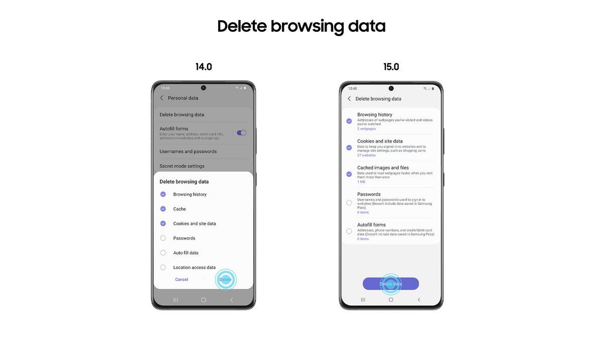 Samsung Internet 15 data © Samsung
