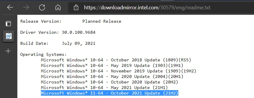 Notes de version Intel © Windows Latest