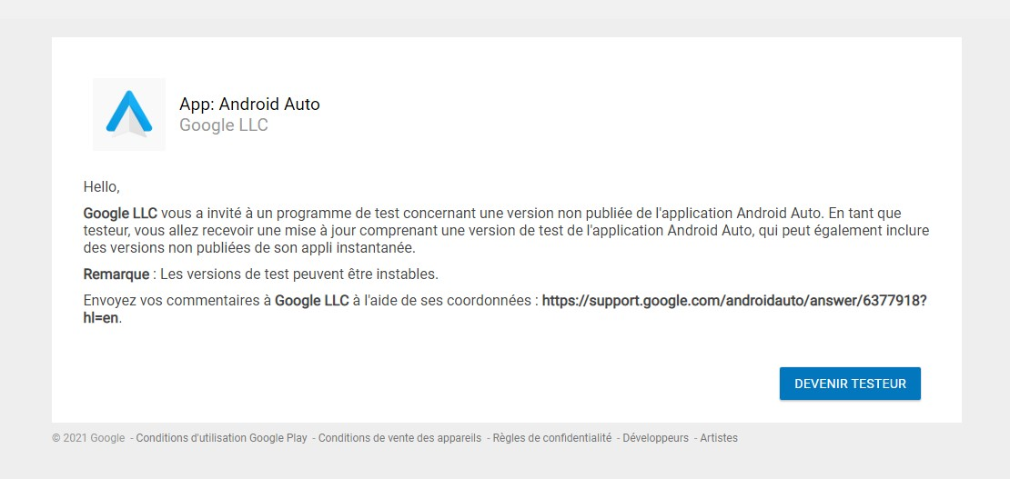 Rejoindre Android Auto bêta