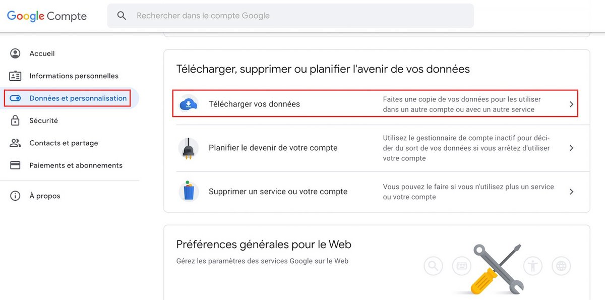 sauvegarde Gmail