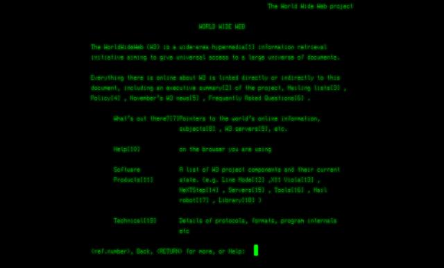 screenshot premier site web © cern
