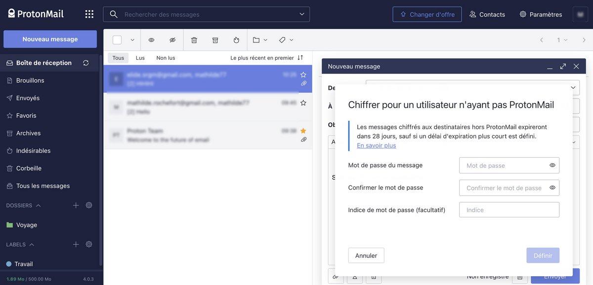 Envoi ProtonMail