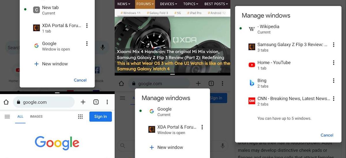 Chrome supportera le multifenêtrage sous Android 12 © XDA via Slashgear