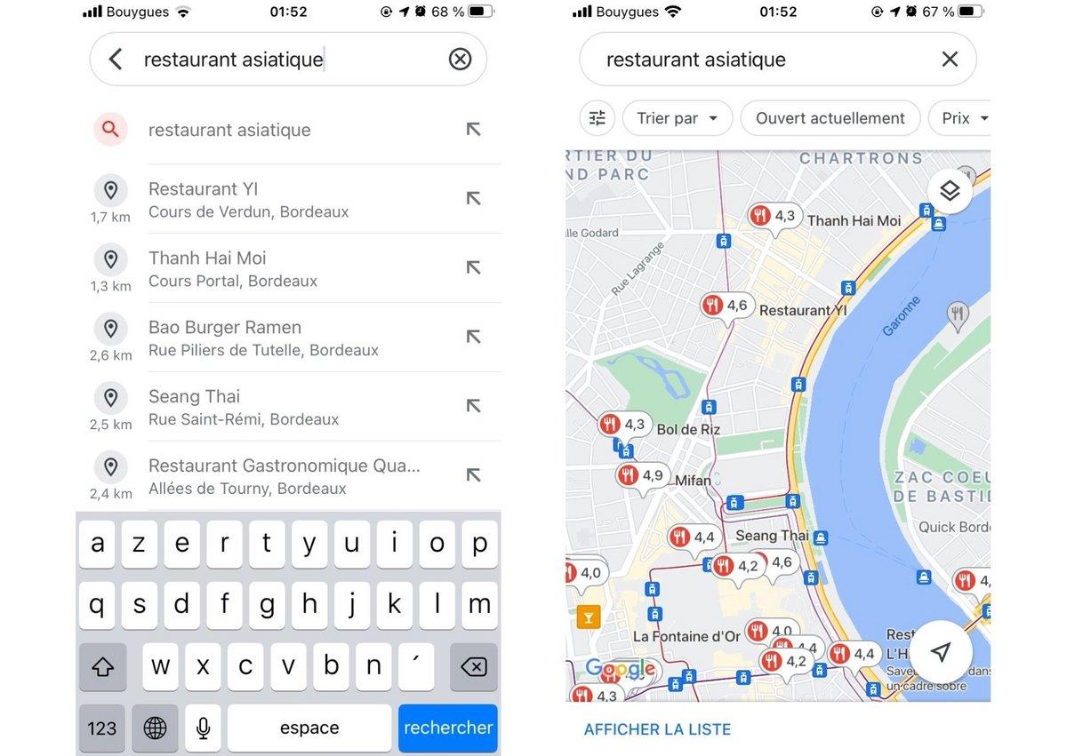 Google maps screen 2