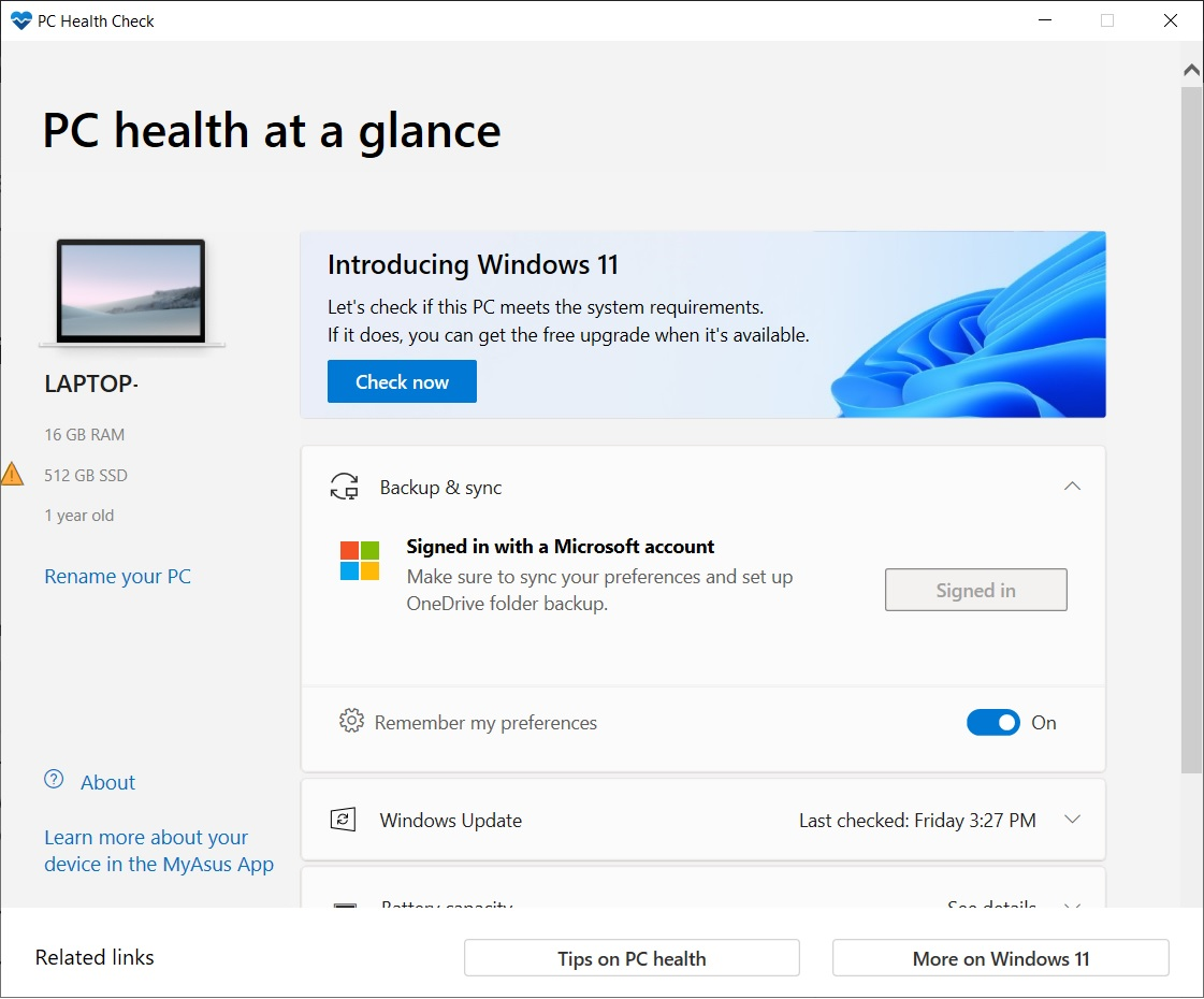 Outil Windows Health Check © © Microsoft