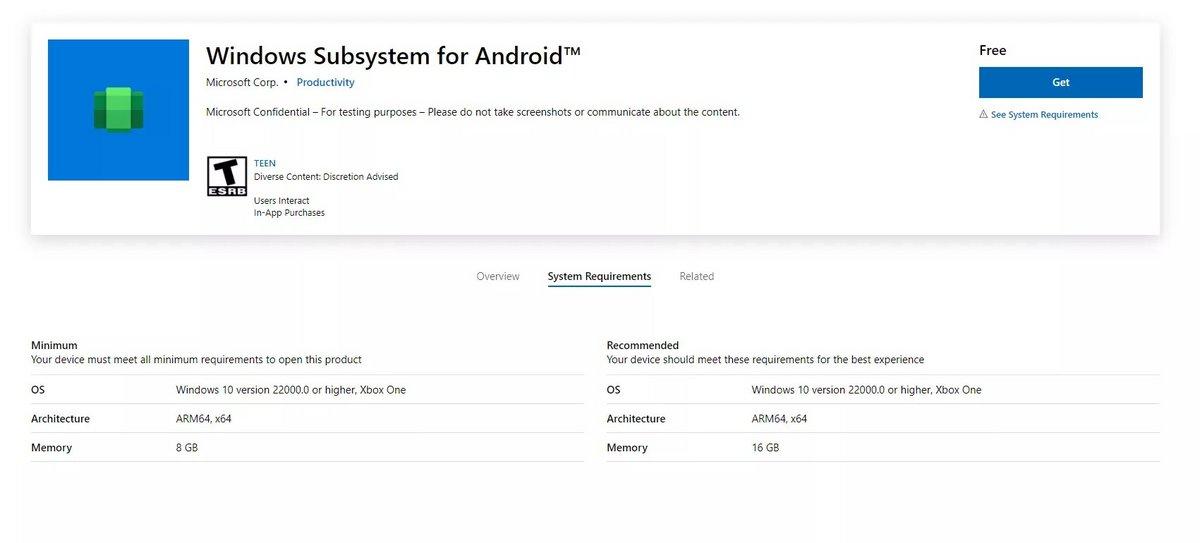 App sous-système Windows Android