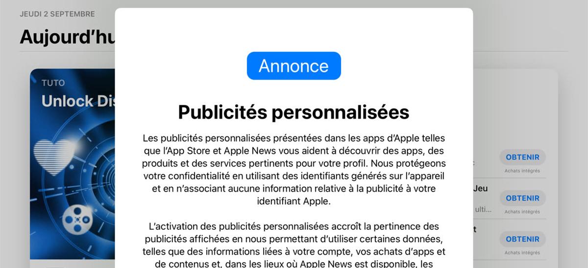 App Store tracking publicitées © iGen