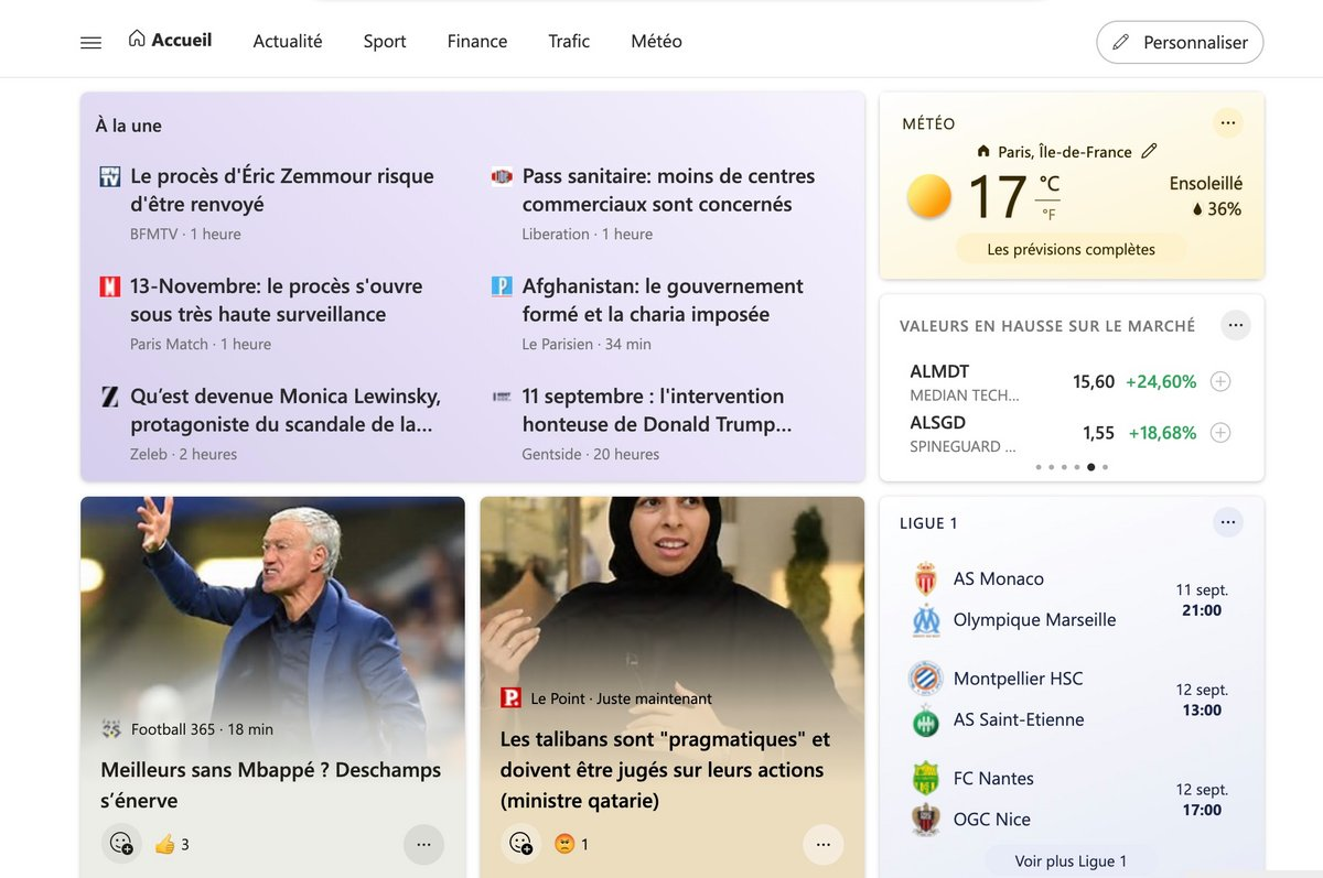 Microsoft Start © Capture d'écran