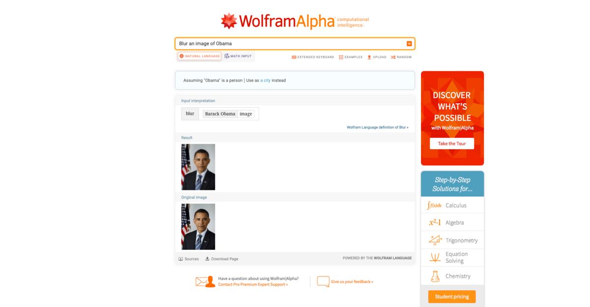 Wolfram Alpha screen 2