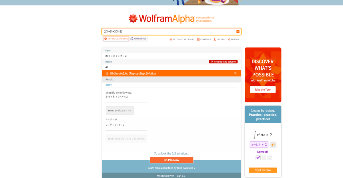 Wolfram Alpha screen 3