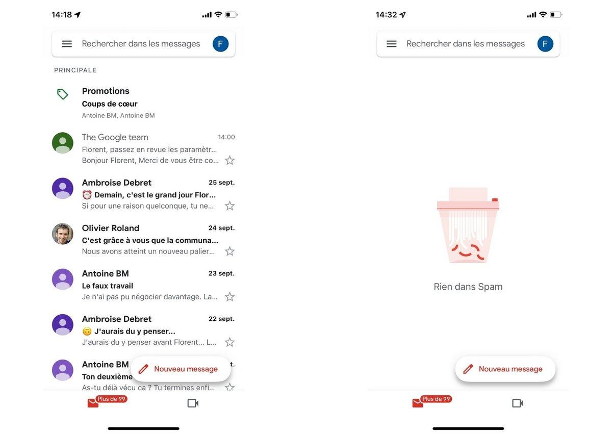 Gmail iOS screen 1