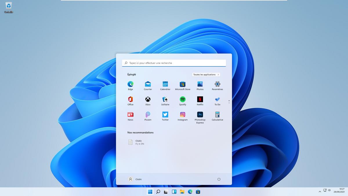 Windows 11 menu démarrer © Alexia Coué