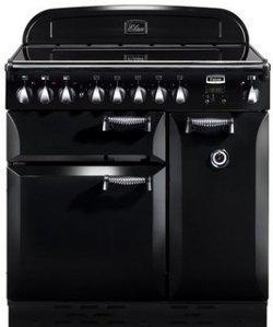 Elan 90 Noir ELAS 90 EIBL5 foyers avec four électrique chaleur tournante multifonction noire induction avec triple four 66 litres 69 litres