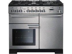 PDL 100 DFSSC Inox5 foyers catalyse chaleur tournante inox avec tiroir de rangement avec four mixte gaz / électrique grill mixte Grilles en fonte avec fonction décongélation avec pieds réglables
