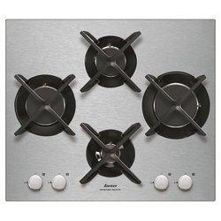 SPG 4465 Xinox 4 foyers gaz avec commande manette verre avec sécurité thermocouple avec allumage électronique encastrable sans cadre avec grille en fonte 56 cm