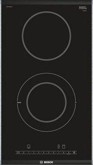 PKF 375 FP 1 E noir 2 foyers avec sécurité enfant avec touches sensitives avec verrouillage des commandes encastrable vitrocéramique 2 boosters avec indicateur de chaleur résiduelle bord biseauté avec 2 minuteries coupe-courant 31 cm Domino vitrocéramique
