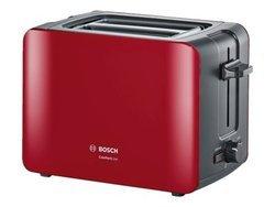 TAT 6 A 114plastique avec fonction réchauffage 2 fentes avec arrêt automatique grille tous pains avec fonction décongélation avec fonction dégivrage 1090 Watts avec commande électronique rouge et anthracite