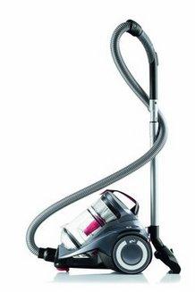 Rebel53 HF DD 5551-3 gris métal sans sac 78 dB filtre HEPA 13 avec enrouleur de câble automatique compact 2,5 litres avec brosse parquet avec position parking 900 Watts avec poignée de transport Classe B Brosse combinée sols durs/moquette. Poignée ergonomique