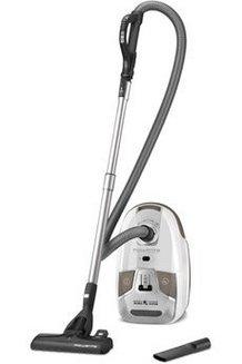 RO 6327 EA blanc traineau avec sac filtre HEPA avec variateur de puissance avec tube métal 68 dB 3,5 litres avec enrouleur de câble automatique avec tube télescopique avec commande à la poignée avec témoin de remplissage du sac avec position parking Classe A 750 Watts filtre en mousse