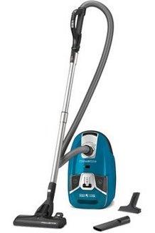 RO 6331 EA traineau avec sac filtre HEPA avec tube métal télescopique 68 dB 3,5 litres avec enrouleur de câble automatique avec position parking Classe A 750 Watts filtre en mousse