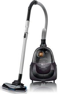 PowerPro Compact FC 9325/09gris sans sac traineau avec tube métal télescopique 79 dB filtre HEPA 10 1,5 litres 28 dm³/s avec brosse parquet avec poignée de transport 750 Watts avec technologie cyclonique Classe B 17,4 kPa