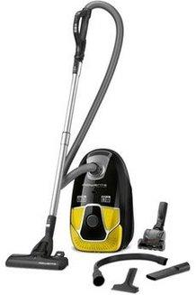 X-Trem Power RO 6864 EA noir et jaune traineau avec sac avec variateur de puissance 75 dB 4,5 litres avec position parking filtre HEPA permanent Classe A 750 Watts avec poignée ergonomique Brosse combinée sols durs/moquette.