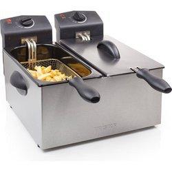 FR 6937inox avec parois froides avec thermostat réglable semi-professionnelle avec éléments amovibles compatibles au lave-vaisselle avec range-cordon avec bac à huile amovible 2 x 1 kg 2 x 3 litres 2 x 1800 Watts avec poignée amovible