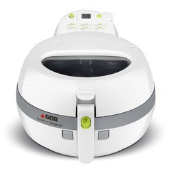 Actifry Original FZ 710000amovible ronde 1 kg sans huile avec minuteur Actifry 1400 Watts avec couvercle transparent avec éléments amovibles compatibles au lave-vaisselle Blanc et Gris avec cuve amovible en céramique avec pale de brassasge
