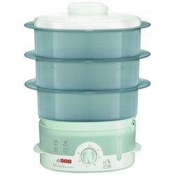 Vitasaveur VC 151100blanc et bleu 3 bols 900 Watts cuiseur oval avec bol à riz inclus 9 litres bol sans BPA avec niveau d'eau visible avec éléments amovibles compatibles au lave-vaisselle blanc et bleu Minéral