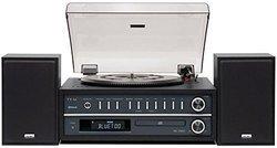 MC-D800 - BlackBluetooth USB Jack 3,5 mm Tuner AM/FM 10 Watts avec télécommande Mini Chaîne Hi-fi Bluetooth RCA Avec platine vinyle
