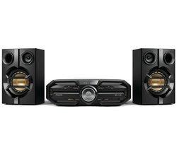 FX15 - NoirPort USB Tuner AM/FM CD/CD-R/CD-RW/CD MP3 NFC avec télécommande Fonction réveil Sans fil Horloge intégrée Bluetooth NFC 180 Watts